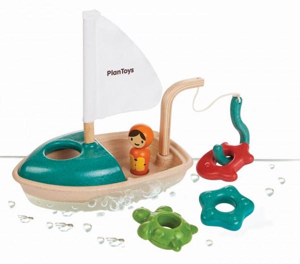 PlanToys Badewannenspielzeug und Wasserspielzeug Angelboot