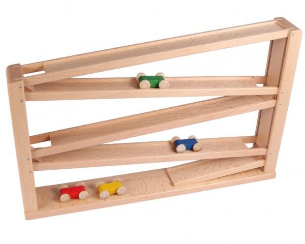 Beck Holzspielzeug Holz Laufbahn Laufbahn mit vier Auto