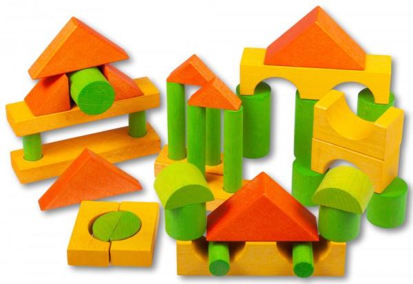 Fröbelsteine Ergänzungsset bunt gebeizt von Beck Holzspielzeug