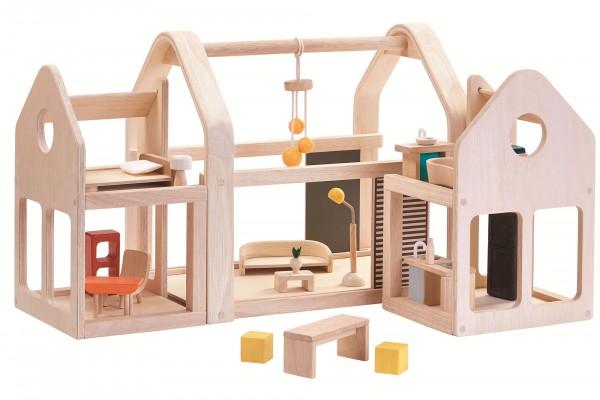 Puppenhaus Plantoys Slide n Go oeko Holzspielzeug Bio Puppenhaus