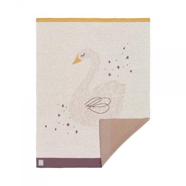 Laessig Bio Baby- und Kuscheldecke Swan rosa 75x100cm