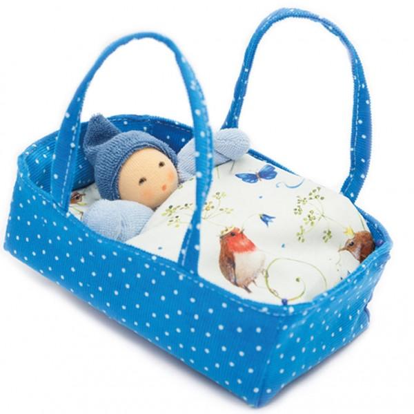 Nanchen Natur Wichtel im Bluetenbett blau hellblau Puppe