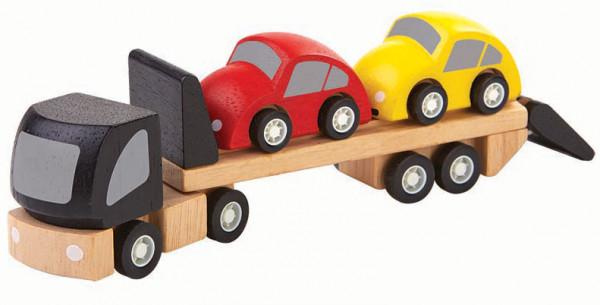 plantoys Autotransporter aus Holz mit zwei Autos