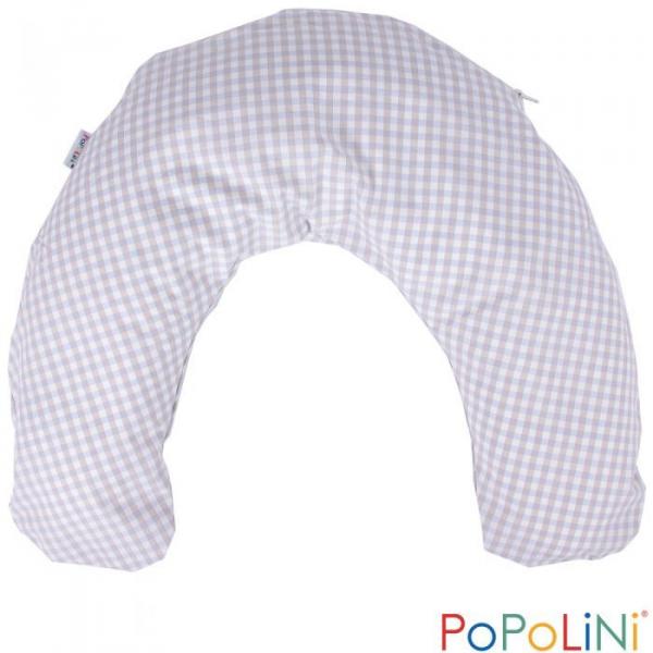 Bio Stillkissen, Babyhoernchen mit Hirseschalenfüllung blau kariert von PoPoLiNi