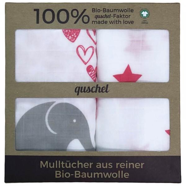 Quschel Mulltücher 2er Set Elefantenherzen pink