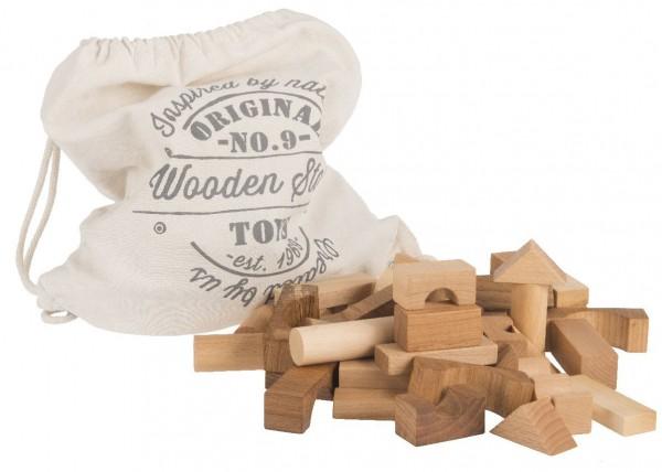 Baukloetze, Holzkloetze 100-teilig naturbelassen im Sack Wooden Story