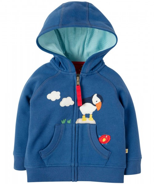 Hoodie mit Papageientaucher-Applikation in blau von Frugi