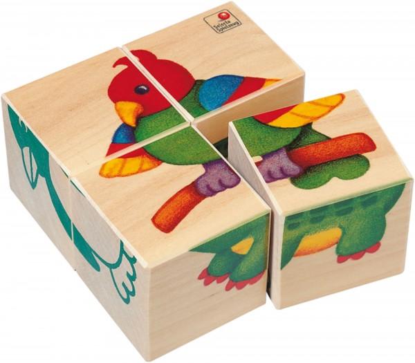 Holz Bilderwürfel Zookinder von Selecta mit 4 Motiven