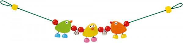 Kinderwagenkette Piepolini von Selecta mit 3 turnenden Piepmätzen
