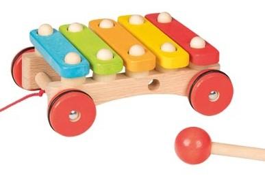 Holzspielzeug Xylophon mit Raedern goki