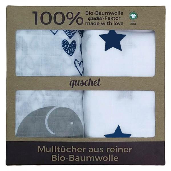 Quschel Mulltücher 2er Set Elefantenherzen blau