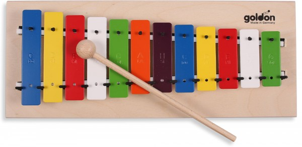 Metallophon Glockenspiel fuer Kinder bunt Goldon