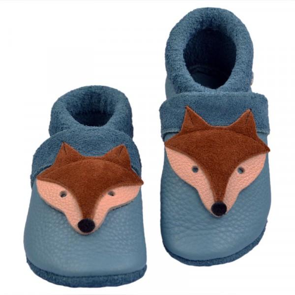 Krabbelschuhe Fuchs hellblau von Pantolinos