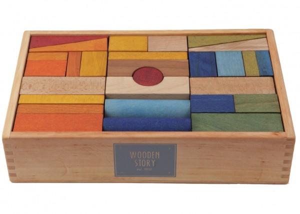 Baukloetze Holzkloetze Regenbogen 63-teilig Wooden Story